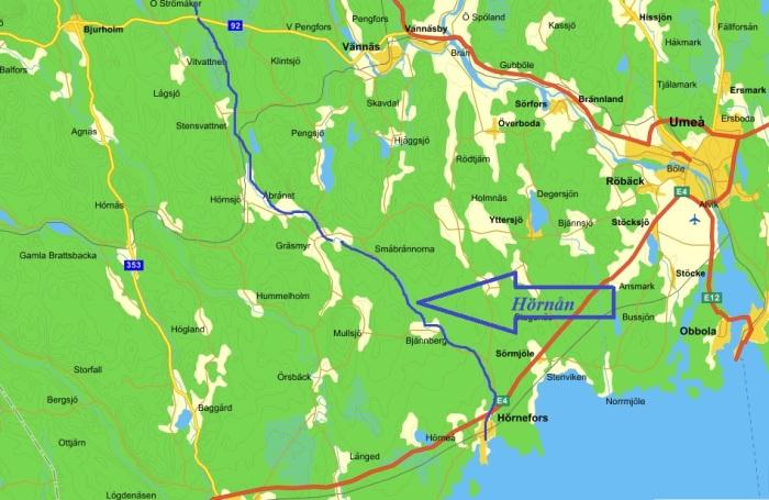 Hörnån-Umeå-Karta